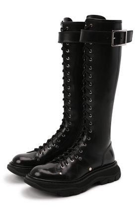 Женские кожаные сапоги ALEXANDER MCQUEEN черного цвета, арт. 595466/WHZ81 | Фото 1