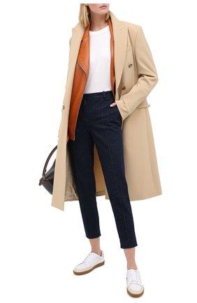 Женские кожаные кеды SAINT LAURENT бежевого цвета, арт. 612656/1JZF0 | Фото 2