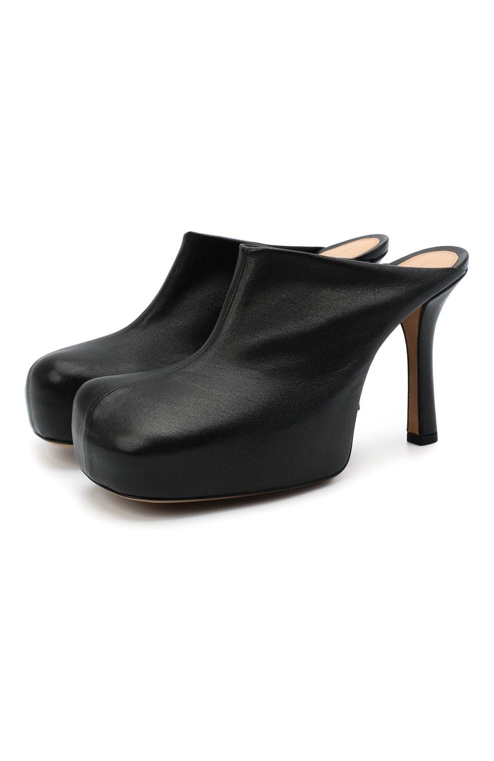 Женские кожаные мюли bv bold BOTTEGA VENETA черного цвета, арт. 630148/VBP40 | Фото 1