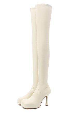Женские кожаные ботфорты bv bold BOTTEGA VENETA кремвого цвета, арт. 630168/VBP40 | Фото 1