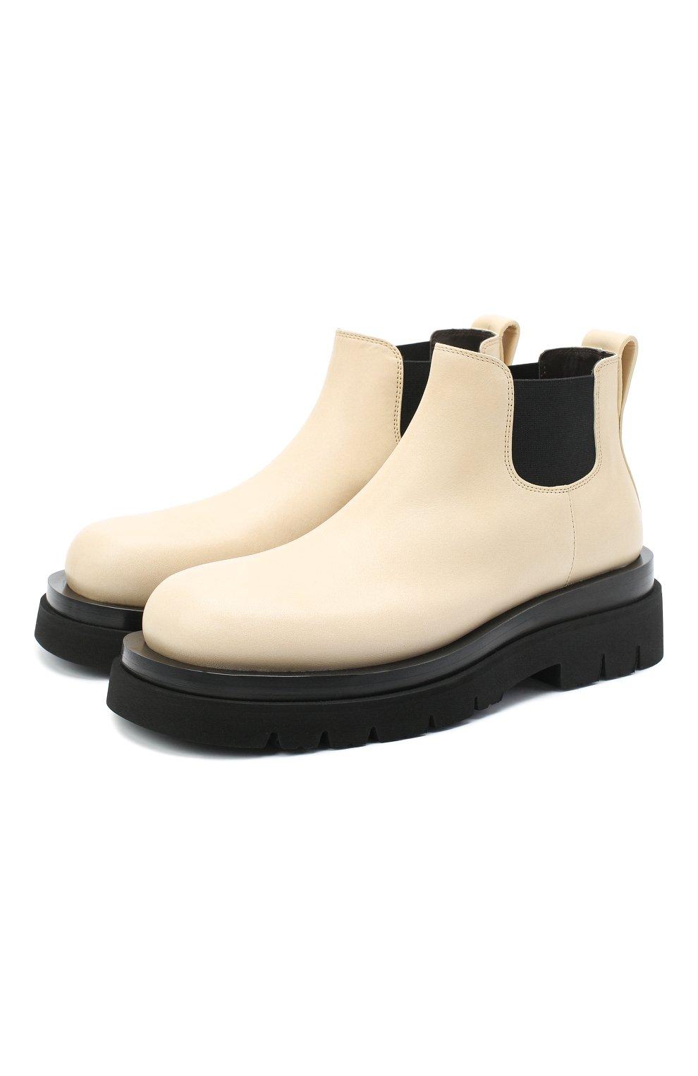 Женские кожаные ботинки bv lug BOTTEGA VENETA светло-бежевого цвета, арт. 634396/VBS50 | Фото 1