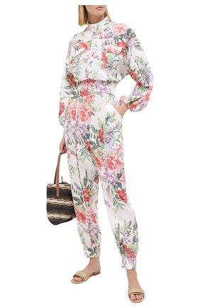 Женский льняной комбинезон ZIMMERMANN бежевого цвета, арт. 8418UBTD | Фото 2