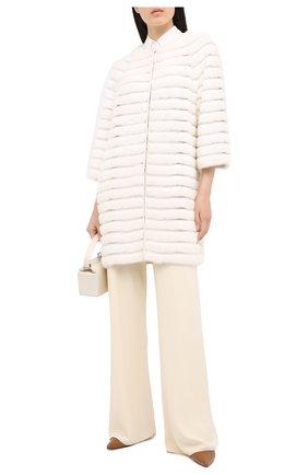 Женская шуба из меха норки YVES SALOMON белого цвета, арт. 6EYM27292VFLX   Фото 2