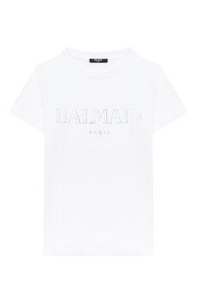 Детская хлопковая футболка BALMAIN белого цвета, арт. 6N8551/NX290/4-10 | Фото 1