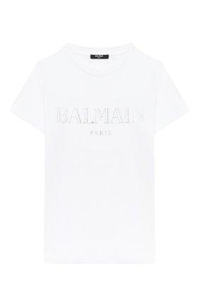 Детская хлопковая футболка BALMAIN белого цвета, арт. 6N8551/NX290/12-16 | Фото 1