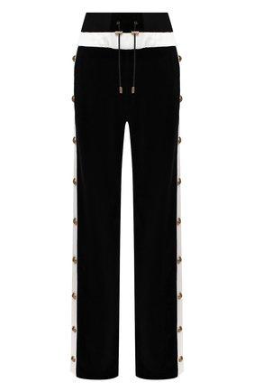Женские хлопковые брюки BALMAIN черно-белого цвета, арт. UF15362/J076   Фото 1