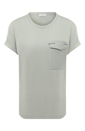 Женская хлопковая футболка BRUNELLO CUCINELLI зеленого цвета, арт. M0045BR810 | Фото 1