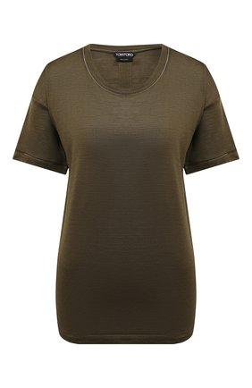 Женская футболка из шелка и шерсти TOM FORD зеленого цвета, арт. TSJ399-FAX544 | Фото 1