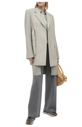 Женские комбинированные кроссовки BRUNELLO CUCINELLI хаки цвета, арт. MZSFG1955 | Фото 2