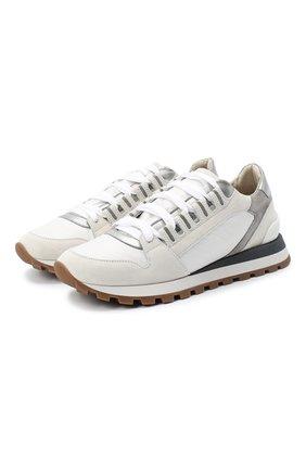 Женские комбинированные кроссовки BRUNELLO CUCINELLI белого цвета, арт. MZSFG1962 | Фото 1