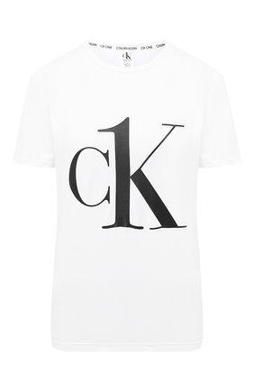 Женская хлопковая футболка CALVIN KLEIN белого цвета, арт. QS6436E   Фото 1