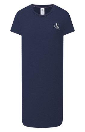 Женская хлопковая сорочка CALVIN KLEIN темно-синего цвета, арт. QS6358E   Фото 1