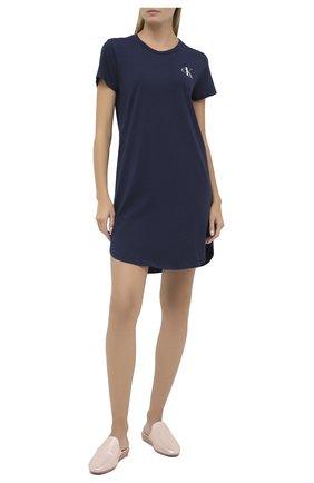 Женская хлопковая сорочка CALVIN KLEIN темно-синего цвета, арт. QS6358E   Фото 2