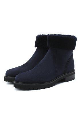Женские замшевые ботинки KITON синего цвета, арт. D50805X04T78 | Фото 1 (Подошва: Платформа; Женское Кросс-КТ: Зимние ботинки; Каблук высота: Низкий)