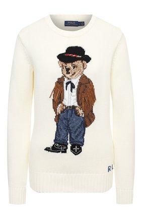 Женская хлопковый свитер POLO RALPH LAUREN кремвого цвета, арт. 211801543 | Фото 1