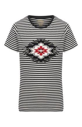 Женская хлопковая футболка POLO RALPH LAUREN черно-белого цвета, арт. 211800451 | Фото 1