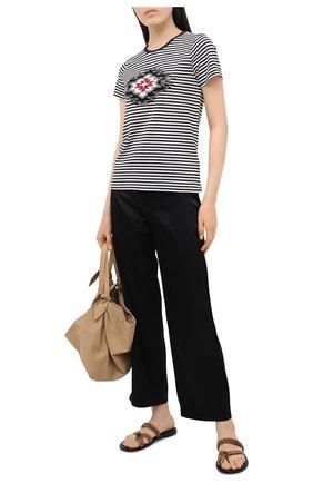 Женская хлопковая футболка POLO RALPH LAUREN черно-белого цвета, арт. 211800451 | Фото 2