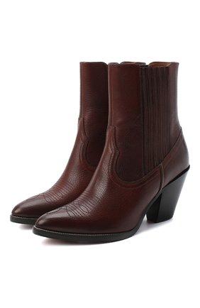 Женские кожаные ботильоны POLO RALPH LAUREN коричневого цвета, арт. 818745850 | Фото 1 (Подошва: Плоская; Каблук высота: Средний; Каблук тип: Устойчивый; Материал внутренний: Натуральная кожа)