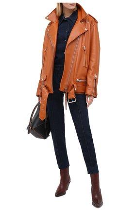 Женские кожаные ботильоны POLO RALPH LAUREN коричневого цвета, арт. 818745850 | Фото 2 (Подошва: Плоская; Каблук высота: Средний; Каблук тип: Устойчивый; Материал внутренний: Натуральная кожа)