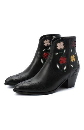 Женские кожаные ботинки POLO RALPH LAUREN черного цвета, арт. 818799159 | Фото 1