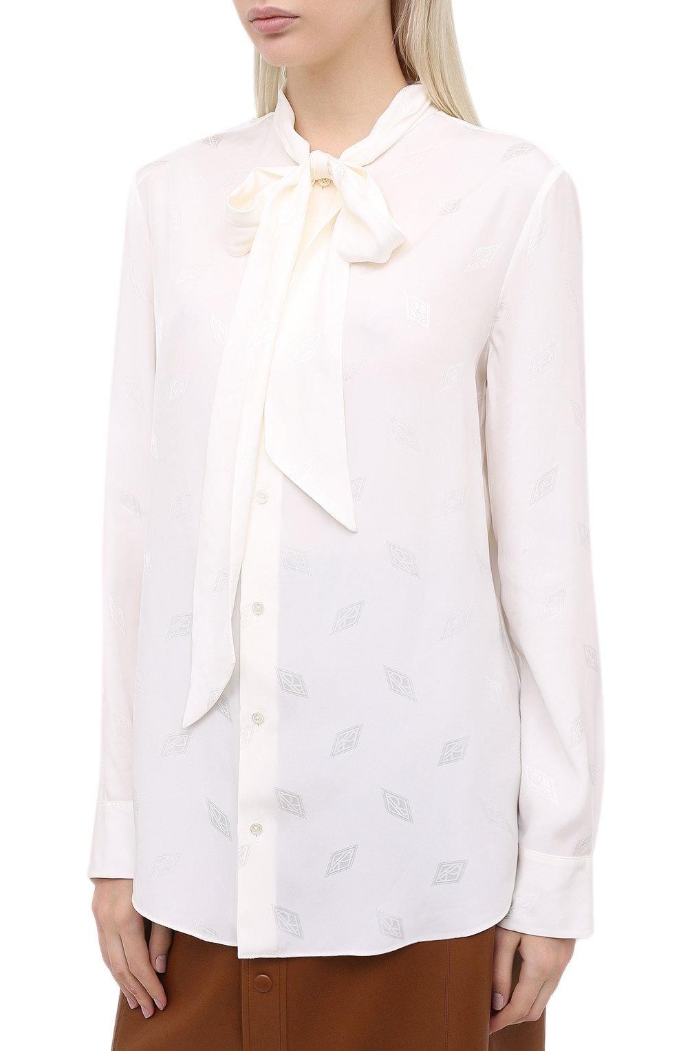 Женская блузка из вискозы и шелка RALPH LAUREN белого цвета, арт. 290815671 | Фото 3