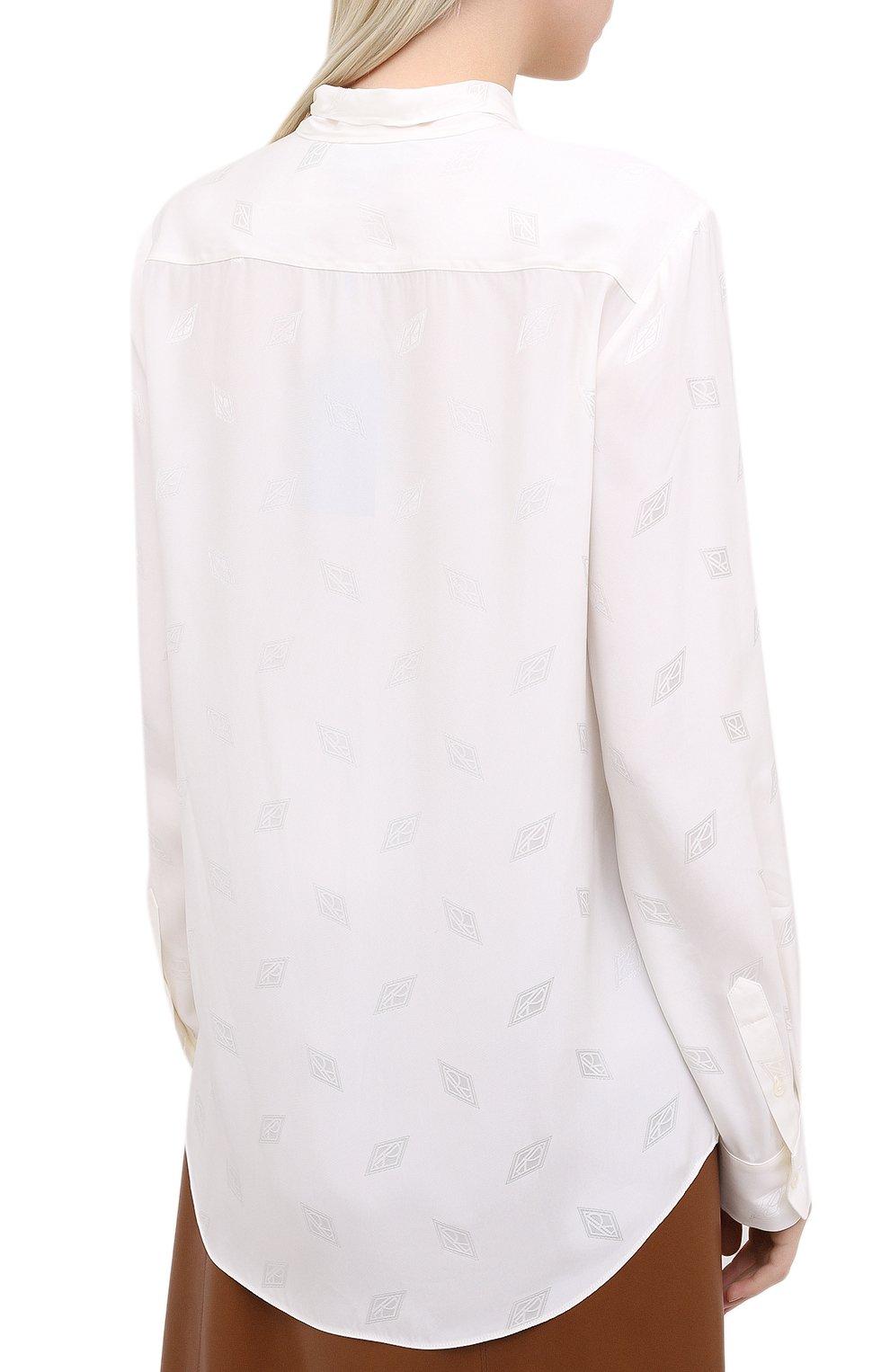 Женская блузка из вискозы и шелка RALPH LAUREN белого цвета, арт. 290815671 | Фото 4