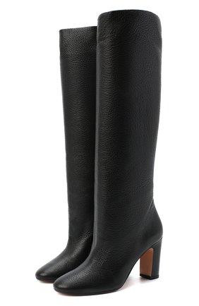 Женские кожаные сапоги KITON черного цвета, арт. D50809X04T82 | Фото 1 (Подошва: Плоская; Каблук тип: Устойчивый; Высота голенища: Средние; Материал внутренний: Натуральная кожа; Каблук высота: Высокий)