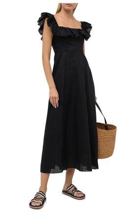Женские текстильные шлепанцы ZIMMERMANN черного цвета, арт. 3152SS20 | Фото 2