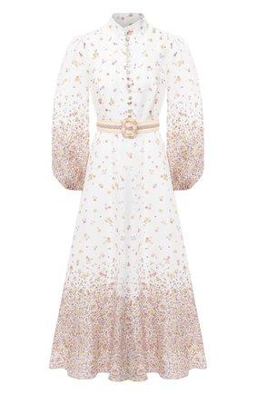 Женское льняное платье ZIMMERMANN бежевого цвета, арт. 8041DCAR | Фото 1