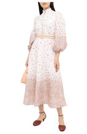 Женское льняное платье ZIMMERMANN бежевого цвета, арт. 8041DCAR | Фото 2