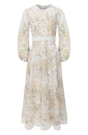 Женское льняное платье ZIMMERMANN бежевого цвета, арт. 8498DAME | Фото 1