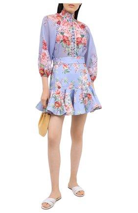 Женская льняная юбка ZIMMERMANN голубого цвета, арт. 8658SBTD   Фото 2