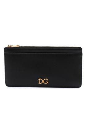 Женский кожаный футляр для кредитных карт DOLCE & GABBANA черного цвета, арт. BI1265/AX121   Фото 1