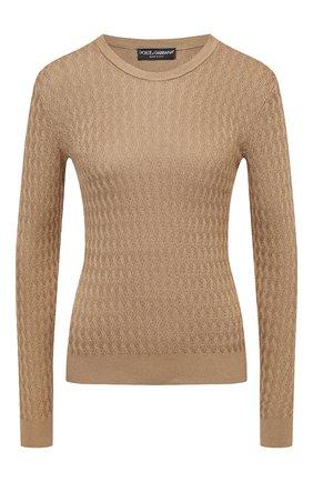 Женская шелковый пуловер DOLCE & GABBANA бежевого цвета, арт. FX904T/JASNV | Фото 1