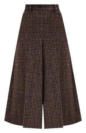 Женские шерстяные брюки DOLCE & GABBANA коричневого цвета, арт. FTBWFT/FQMH3 | Фото 1