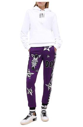 Женские хлопковые джоггеры DOLCE & GABBANA фиолетового цвета, арт. FTBR7Z/G7WFU | Фото 2