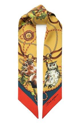 Мужские шелковый шарф DOLCE & GABBANA коричневого цвета, арт. FS215A/GDV98 | Фото 1