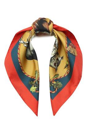 Женский шелковый платок DOLCE & GABBANA коричневого цвета, арт. FN093R/GDV97 | Фото 1