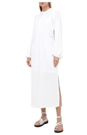 Женское платье из вискозы BURBERRY белого цвета, арт. 8030324 | Фото 3