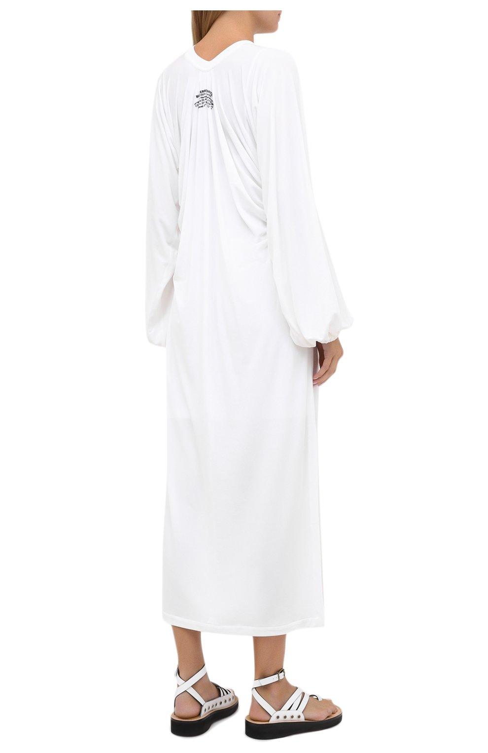 Женское платье из вискозы BURBERRY белого цвета, арт. 8030324 | Фото 4