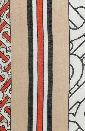 Женская шаль из шерсти и шелка BURBERRY оранжевого цвета, арт. 8030554 | Фото 2