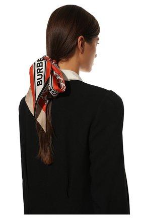 Мужские шелковый шарф BURBERRY красного цвета, арт. 8030561 | Фото 2