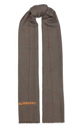 Мужские кашемировый шарф BURBERRY коричневого цвета, арт. 8030717 | Фото 1