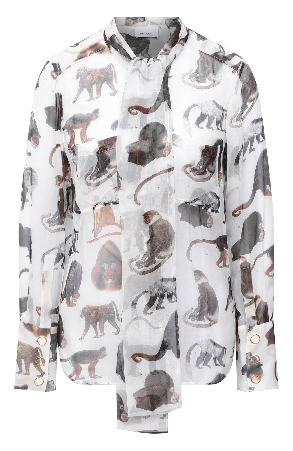 Женская шелковая блузка BURBERRY белого цвета, арт. 8030901 | Фото 1