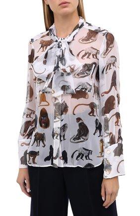Женская шелковая блузка BURBERRY белого цвета, арт. 8030901 | Фото 3