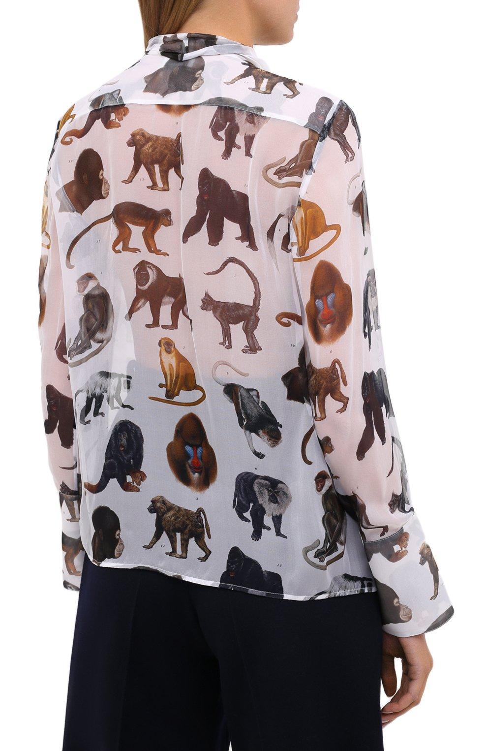 Женская шелковая блузка BURBERRY белого цвета, арт. 8030901 | Фото 4