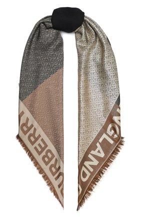 Женская шаль из шелка и шерсти BURBERRY коричневого цвета, арт. 8030934 | Фото 1