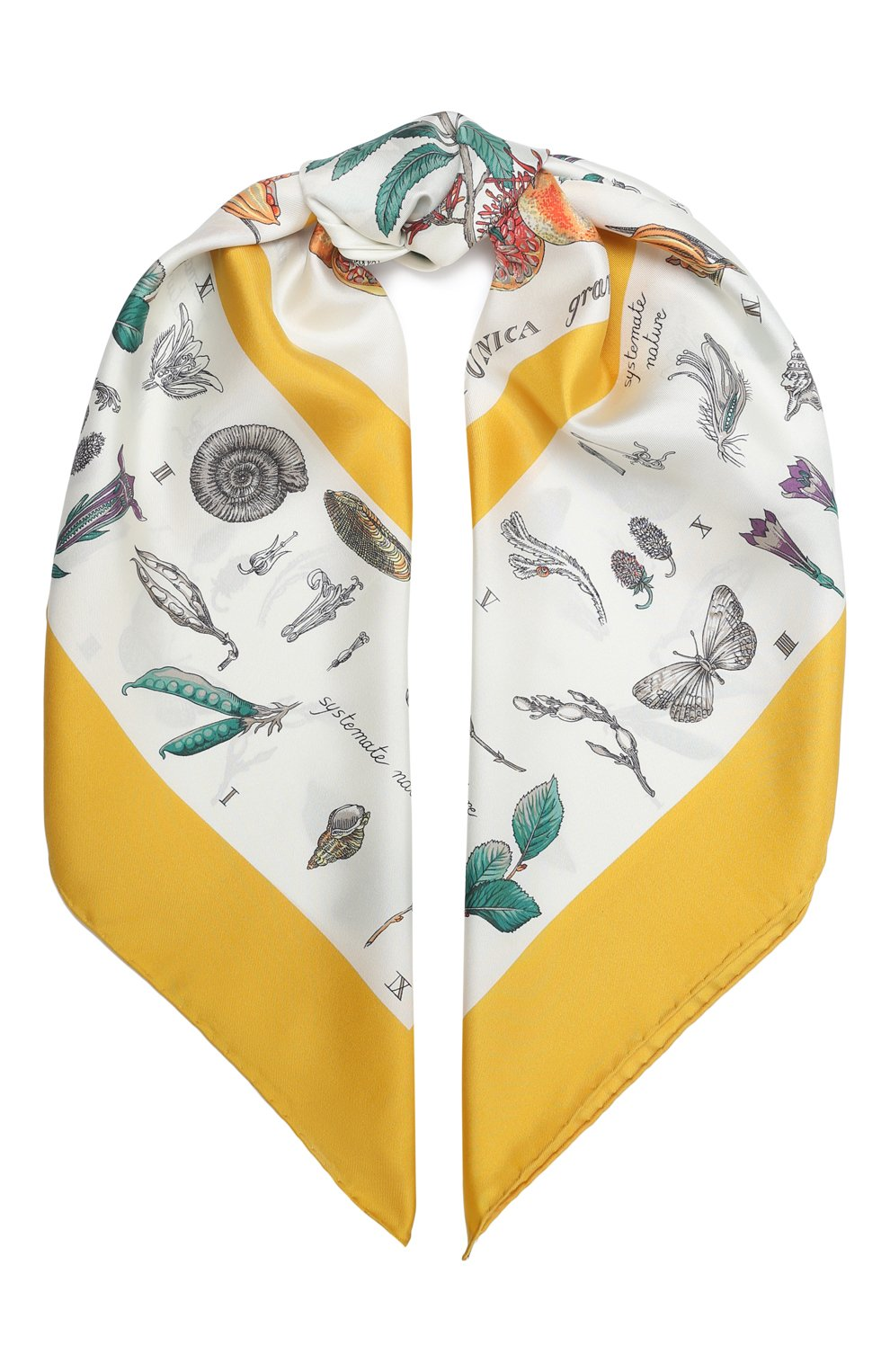 Женский шелковый платок BURBERRY желтого цвета, арт. 8031126 | Фото 1