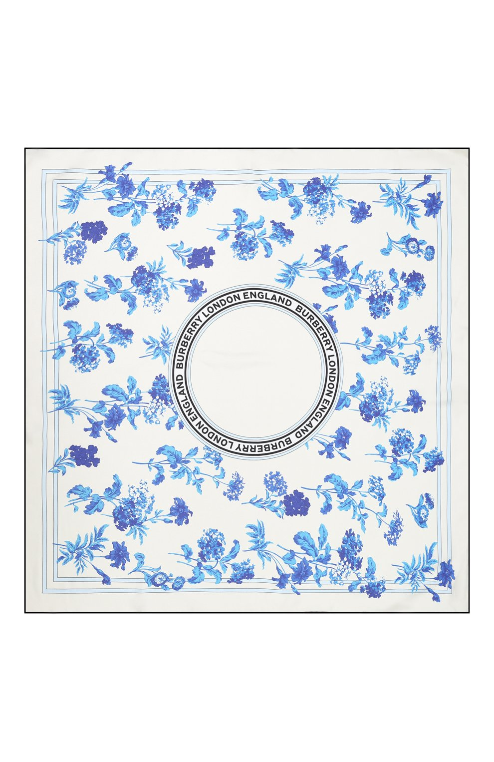 Женский шелковый платок BURBERRY голубого цвета, арт. 8031128 | Фото 3