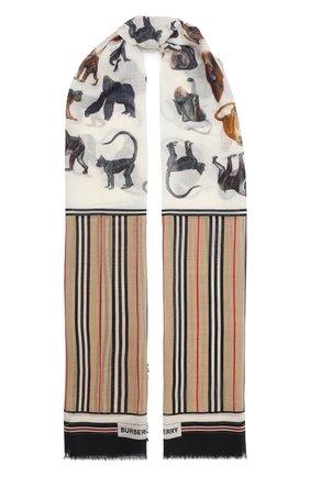 Мужские шарф из шерсти и шелка BURBERRY бежевого цвета, арт. 8031144 | Фото 1
